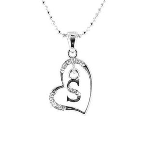 Clear Crystal on Silver Plated Initial Necklace – S