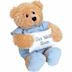 11″ Plush PATIENT BEAR – FEEL BETTER Gift/Wearing Blue Hospital Gown & Slippers/Holding GET WELL SOON Pillow/ILLNESS/Sick CHILD/CHEER UP/Surgery