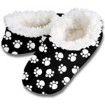 Snoozies Womens Fleece Lined Footies, Dog Paw Prints Black and White Footie