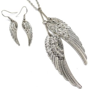 Elegant Silver Tone Guardian Angel Wings Necklace and Earrings Set for Teens and Women Fashion Jewlery