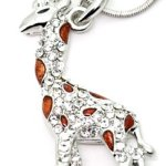 Silver Tone Brown Spotted Giraffe Charm Necklace with Crystal Accents for Girls Teens Women