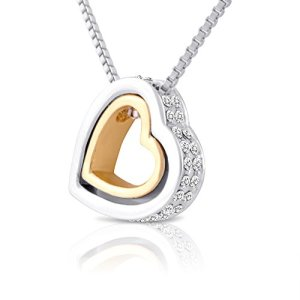 Double Open Heart Necklace- Two Tone Nesting Hearts Necklace with Crystals for Women, Girlfriend or Teens