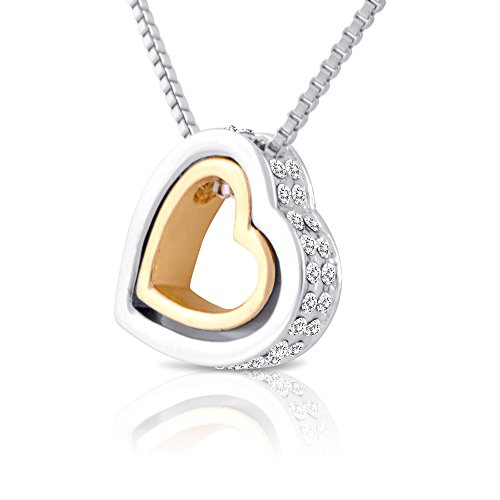 double open heart necklace two tone nesting hearts. Black Bedroom Furniture Sets. Home Design Ideas