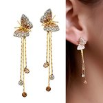 Neoglory Jewelry Alloy Rhinestone Yellow Butterfly Drop Earring for Female 1.9""