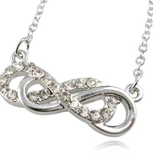 Dainty 1″ Silver Tone Crystal Double Infinity Sign Symbol Necklace Fashion Jewelry for Girls Teens Women