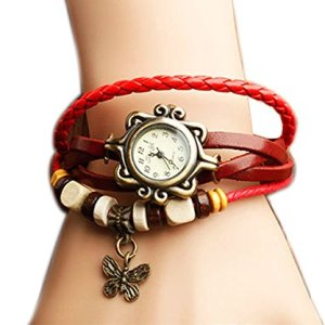 PPPerson Fashion Butterfly Pendant Quartz Retro Weave Wrap Around Leather Bracelet Lady Woman Wrist Watch