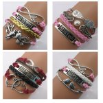 Twinkle Handmade -Sister Series Charm for Friendship Gift Party Accessory Leather Bracelet (4 Pieces/lot)