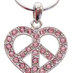 "Cute Silver Tone Shimmering Pink Crystals 1"" Peace Sign/symbol Heart Necklace for Girls Teens Tweens"