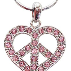 Cute Silver Tone Shimmering Pink Crystals 1″ Peace Sign/symbol Heart Necklace for Girls Teens Tweens