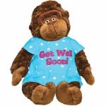 "15"" Adorable Plush GET WELL SOON Gorilla/MONKEY with HOSPITAL Gown/Cheer UP GIFT/Hope you FEEL BETTER/After SURGERY GIFT/INJURY/HOSPITALIZATION/Brighten SOMEONE'S DAY! SICKNESS/ILLNESS"