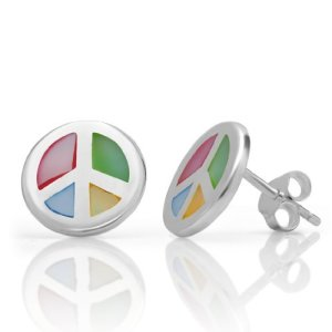 925 Sterling Silver Multi-Colored Mother of Pearl Shell Love Peace Sign Round Post Stud Earrings 13 mm Fashion Jewelry for Women, Teens, Girls – Nickel Free