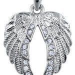 Lovely Clear Crystal Accented Gaurdian Angel Wings Silver Tone Necklace - Gift for Women, Teens and Girls