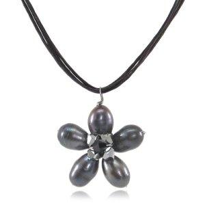 MGD, Black Pearls Bead Flower Pendant with Swarovski Elements Wax Thread Choker Necklace, Handmade Fashion Jewelry for Women, Teens and Girls, JA-0124N