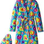 Sleep & Co Girl's Plush Heart Bathrobe and Slipper Gift Set