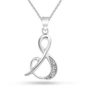 Bling Jewelry 925 Silver CZ Cursive Initial Letter S Alphabet Necklace 18in