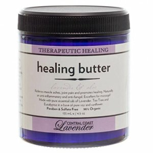HEALING BUTTER PAIN RELIEF Over 98% Natural – Americas #1 OTC Pain Relief Therapy: Chosen by Aromatherapy Practitioners and Physicians for Sufferers of Sciatica, Back and Neck Pain, Fibromyalgia, Shin Splints, Neuropathy, Muscle Aches, Joint Pain, Sciatica, RLS, Tennis Elbow, Carpal Tunnel Syndrome, Arthritis, Bursitis, Tendonitis, Head aches and Other Pain Caused by Inflammation Related Ailments, Excellent for Psoriasis, Eczema, Poison Oak and Fungal Rashes of the Skin. Used to Diminish and Speed Healing of Scars and Stretch Marks. – Formulated with Aloe Vera, Tea Tree & MSM. JUMBO GLASS JAR 135 ml/4.5oz
