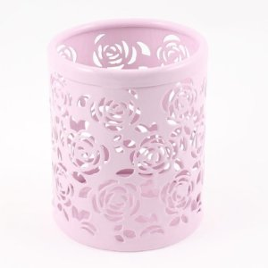 Light Pink Hollow Rose Flower Pattern Metal Pen Pencil Pot Holder Organizer
