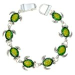 Silvertone Green Turtle Charm Magnetic Clasp Bracelet