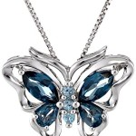XPY Sterling Silver Swiss and London Blue Topaz Butterfly Pendant Necklace, 18""