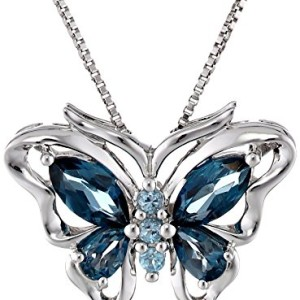 XPY Sterling Silver Swiss and London Blue Topaz Butterfly Pendant Necklace, 18″