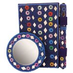 Christmas Holiday Gifts Stylish Beaded Pocket Diary with Pen & Round Mirror, Traditional Lac Mirror Artwork