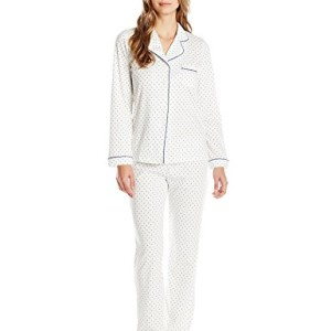 Dearfoams Women's Long Sleeve Notch Collar Printed Pajama Set