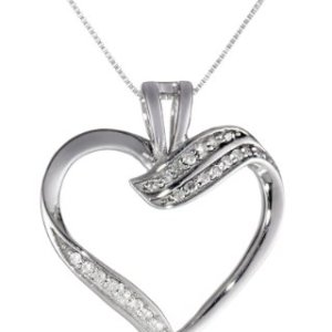 10k White Gold Diamond Ribbon Heart Pendant Necklace (1/10 cttw, I-J Color, I2-I3 Clarity), 18″