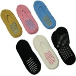 6 Slipper Socks with Non-skid Soles, Size 9-11