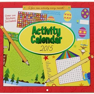 2015 Calendar – 16 Month Activity Crosswords Coloring Book with Over 100 Stickers Included