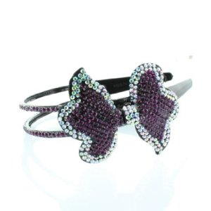 Bling Bling! Ribbon – Bow Headband with Purple & Clear Rhinestones – Crystals. Perfect for Women, Teens & Girls, Bling Bling Hair Accessory