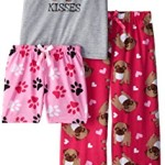 Sleep & Co Big Girls' Pugs 3 Piece Pajama Sleep Set