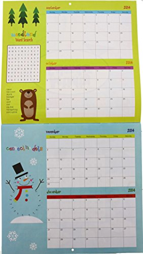 Kids Calendar With Activity Stickers : Calendar month activity crosswords coloring book