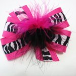 Girls Hot Pink Black and White Zebra Hair Bow Teen Hair Accessory with Feather Zebra Barrette
