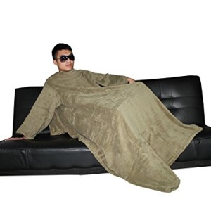 Large Super Soft & Comfy Plush Blanket / Couch Throw with Sleeves