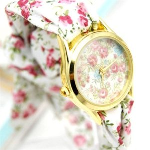Ladies Self-Tie Yellow Gold White & Pink Flower Ribbon Fashion Watch SW-1244