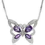 Sterling Silver Pear and Marquise-Shape Amethyst and Diamond Butterfly Pendant Necklace (0.01 cttw, I-J Color, I1-I2 Clarity), 18""