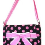 Polka Dot Quilted Cotton Hipster Crossbody Bag w/ Cute Ribbon Bow Accent