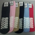 12 Pairs Womens Assorted Color Design Non Skid Slipper Socks