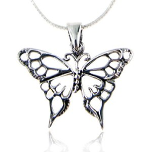 925 Sterling Silver Open Celtic Butterfly Pendant Necklace Jewelry for Women Snake Silver Chain 18""