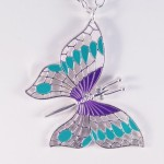 """New 34"""" Silver Tone Necklace with 2.5"""" Wide Butterfly Pendant"""