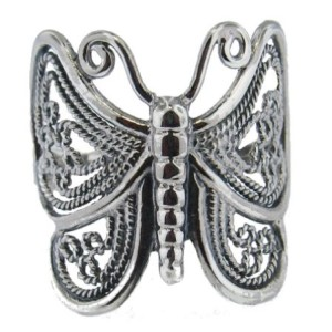 .925 Sterling Silver Ladies Ornamental Openwork Butterfly Ring – Sizes 6-10