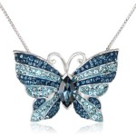 Carnevale Sterling Silver Blue Mix Butterfly with Swarovski Elements Pendant Necklace, 18""