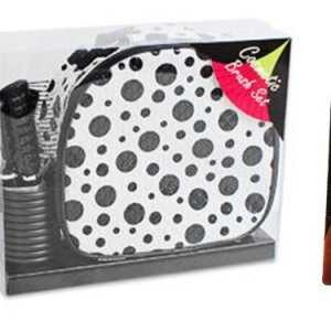 2 Item Bundle: Includes 9 Piece Travel Cosmetic Case with Handle (Black and White Polka Dot), and Brush Set, 1 – Piece Emory Board (Preselected Color), Brush Set Includes: 1- 6.5″ Mirror, 1- Eyebrow Brush, and Makeup Applicator and 3-brushes 1-brush Holder Cup, Gift Set for Girls, Gift Set for Women, Birthday Gifts for Women, Birthday Gift for Teens, Christmas Gifts for Women, Christmas Gifts for Mom, Christmas Gifts for Teens, Christmas Gifts for Girlfirend, Stocking Stuffers