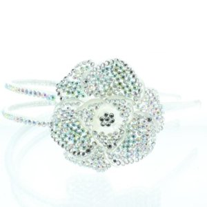 Bling Bling! Flower Headband with Irodescent Rhinestones – Crystals. Perfect for Women, Teens & Girls, Bling Bling Hair Accessory
