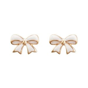FM42 Classic Ladies Cute White Enamel Bow Bowknot Stud Earrings E233