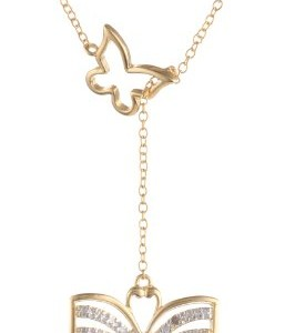 18k Yellow Gold Plated Sterling Silver Diamond Accent Butterfly Y Necklace, 17″