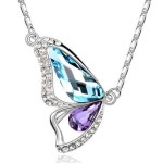"Platinum-plated 18"" Fashion Necklace and Butterfly-Shaped Pendant with Imported Crystal Elements"