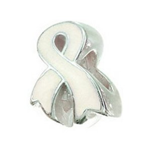 Zable Sterling Silver Awareness Ribbon White Pandora Compatible Bead Charm