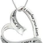 "Sterling Silver ""A True Friend"" Open Heart Pendant Necklace, 18"""