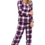 Del Rossa Women's 100% Cotton Flannel Pajama Set - Long Pjs